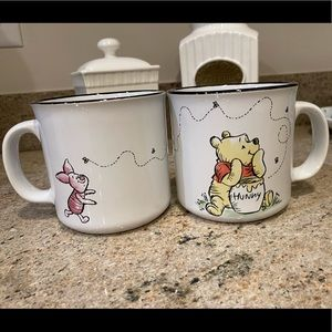 Pair of Winnie the Pooh and Piglet Mugs